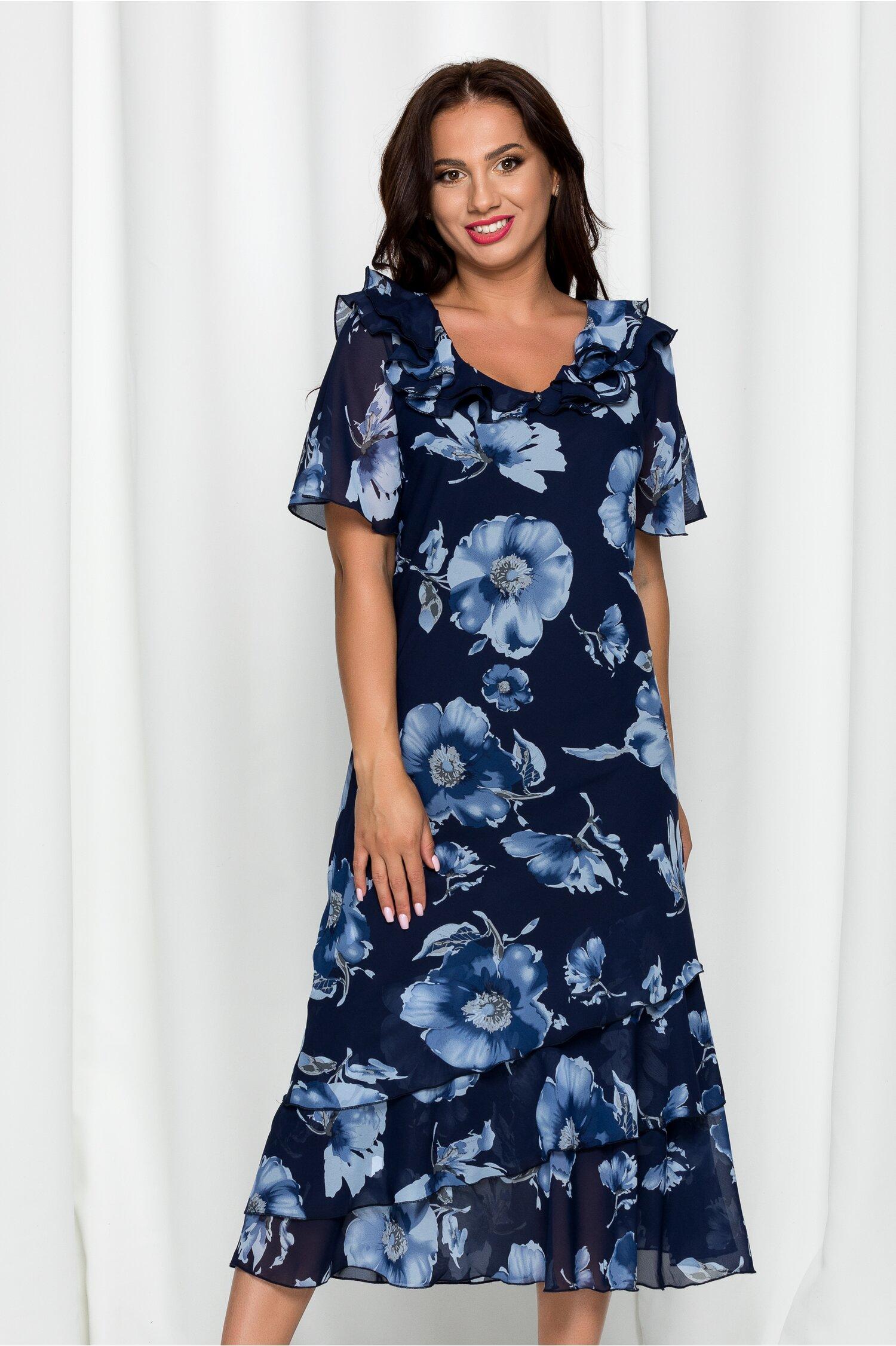 Rochie Raisa bleumarin cu imprimeu floral bleu si volanase