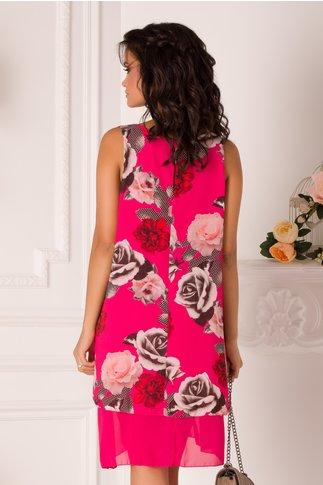 Rochie Raisa fucsia din voal cu trandafiri