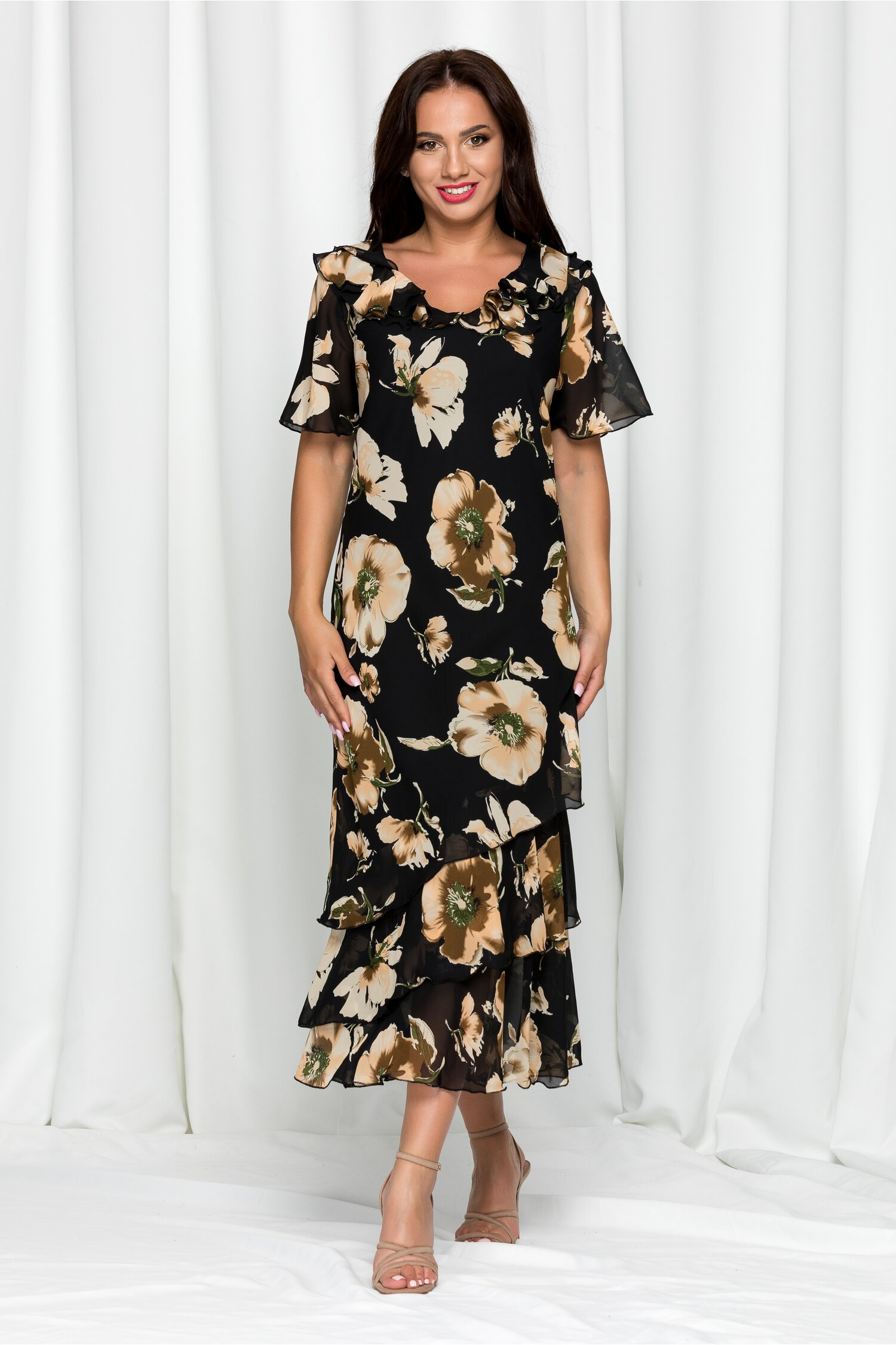 Rochie Raisa neagra cu imprimeu floral crem si volanase