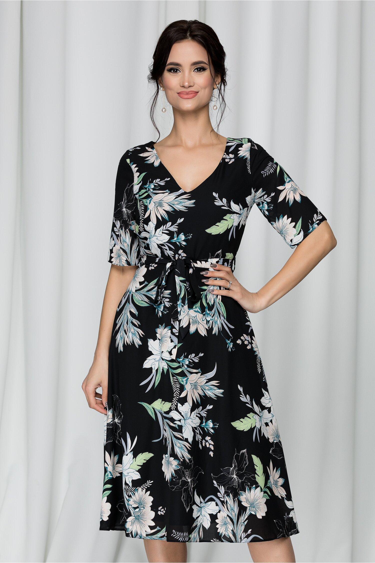 Rochie Raisa neagra cu imprimeu floral verde