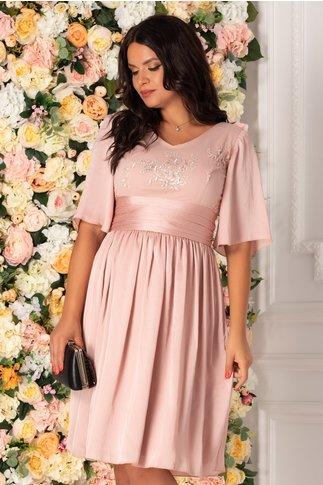Rochie Raisa roz prafuit cu broderie florala