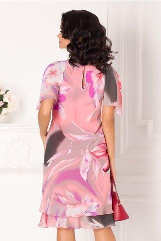 Rochie Raisa roz vaporoasa cu imprimeu floral