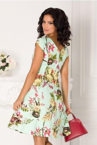 Rochie Raisa verde cu imprimeu colorat