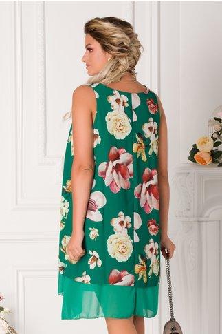 Rochie Raisa verde din voal cu imprimeu floral