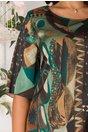 Rochie Raissa cu imprimeu verde si volane la baza