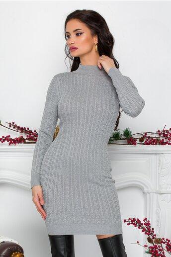 Rochie Ralu gri din tricot cu design impletit