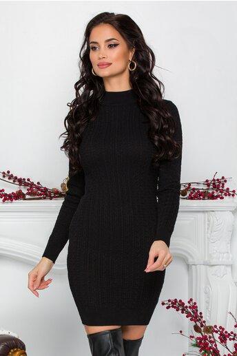 Rochie Ralu neagra din tricot cu design impletit