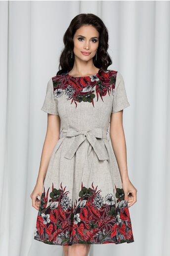 Rochie Raluca gri cu imprimeu floral si cordon in talie