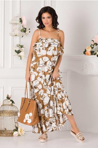 Rochie Raluca lunga maro cu imprimeuri florale si volane la bust