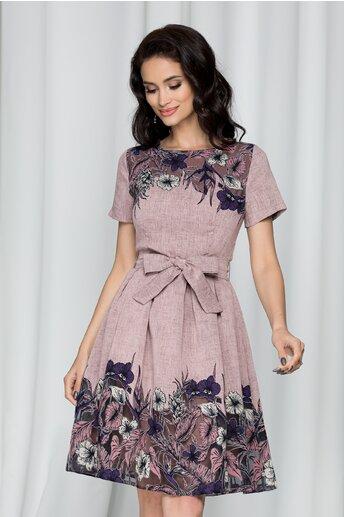 Rochie Raluca roz cu imprimeu floral si cordon in talie