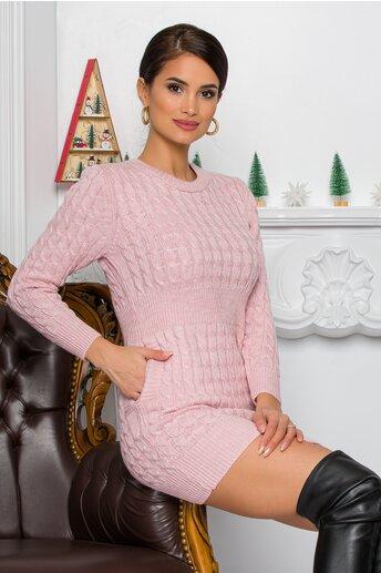 Rochie Raluca roz din tricot cu design impletit