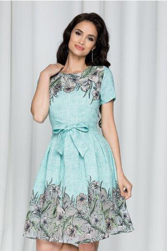 Rochie Raluca turcoaz cu imprimeu floral si cordon in talie