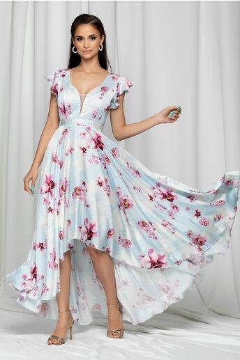 Rochie Ramona bleu cu imprimeu floral si cordon in talie