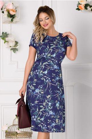 Rochie Ramona bleumarin cu floral albastru