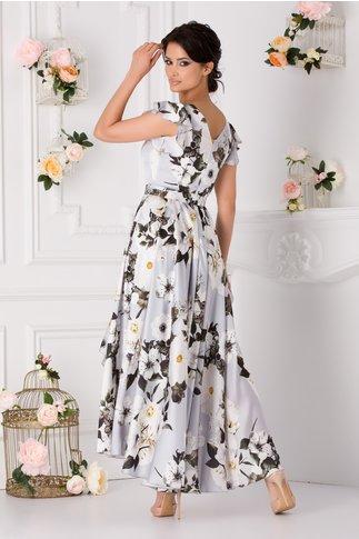Rochie Ramona gri cu imprimeu floral si cordon in talie