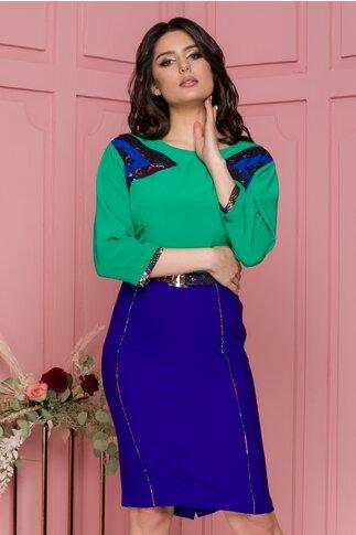Rochie Ramona verde cu albastru cu detalii discrete din dantela
