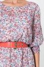 Rochie Rania ivory cu flori corai si insertii din dantela pe maneci