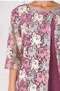 Rochie Rania lila cu aplicatie din dantela la bust