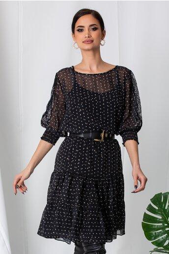 Rochie Rania neagra cu buline si insertii din dantela pe maneci