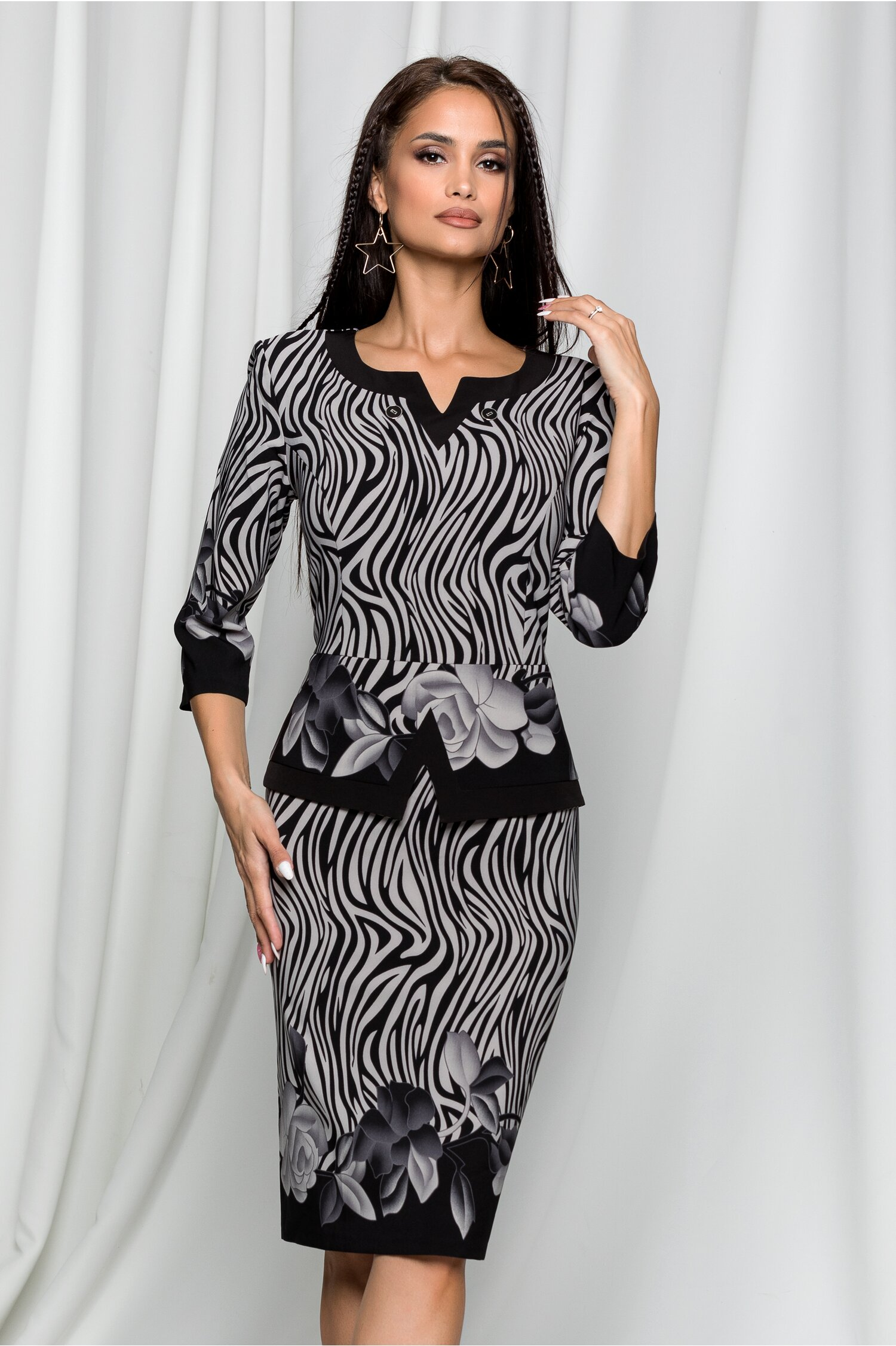 Rochie Rania neagra cu imprimeu divers gri