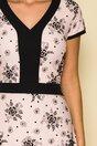 Rochie Rania roz cu insertii florale catifelate