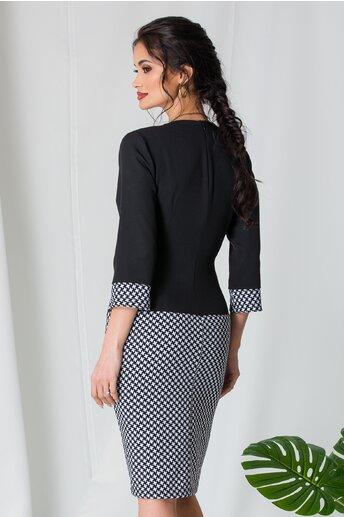 Rochie Ranya neagra cu imprimeu alb pe fusta si baza manecilor