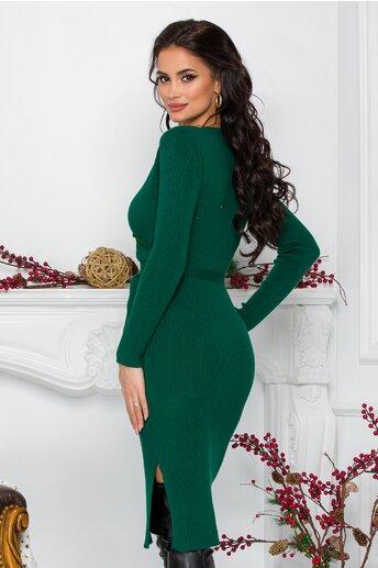 Rochie Ranya verde cu decolteu petrecut si cordon in talie