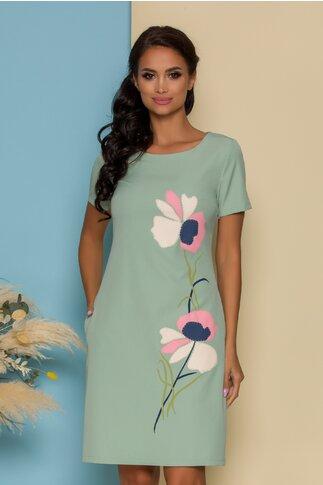 Rochie Raven verde mint cu imprimeu floral pastelat