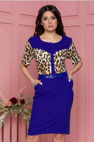 Rochie Raya albastra cu imprimeu animal print si curea in talie