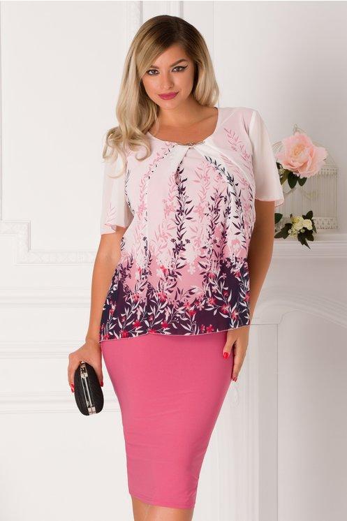 Rochie Raya roz cu imprimeu floral