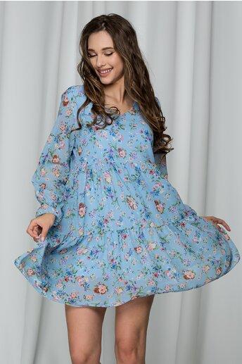 Rochie Rebeca bleu cu imprimeu floral si croi lejer