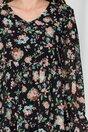 Rochie Rebeca neagra cu imprimeu floral si croi lejer