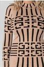 Rochie Reena bej cu imprimeu labirint negru