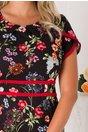 Rochie Renata neagra cu imprimeu floral multicolor