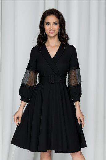 Rochie Renata neagra cu maneci lungi accesorizate cu margele si strasuri