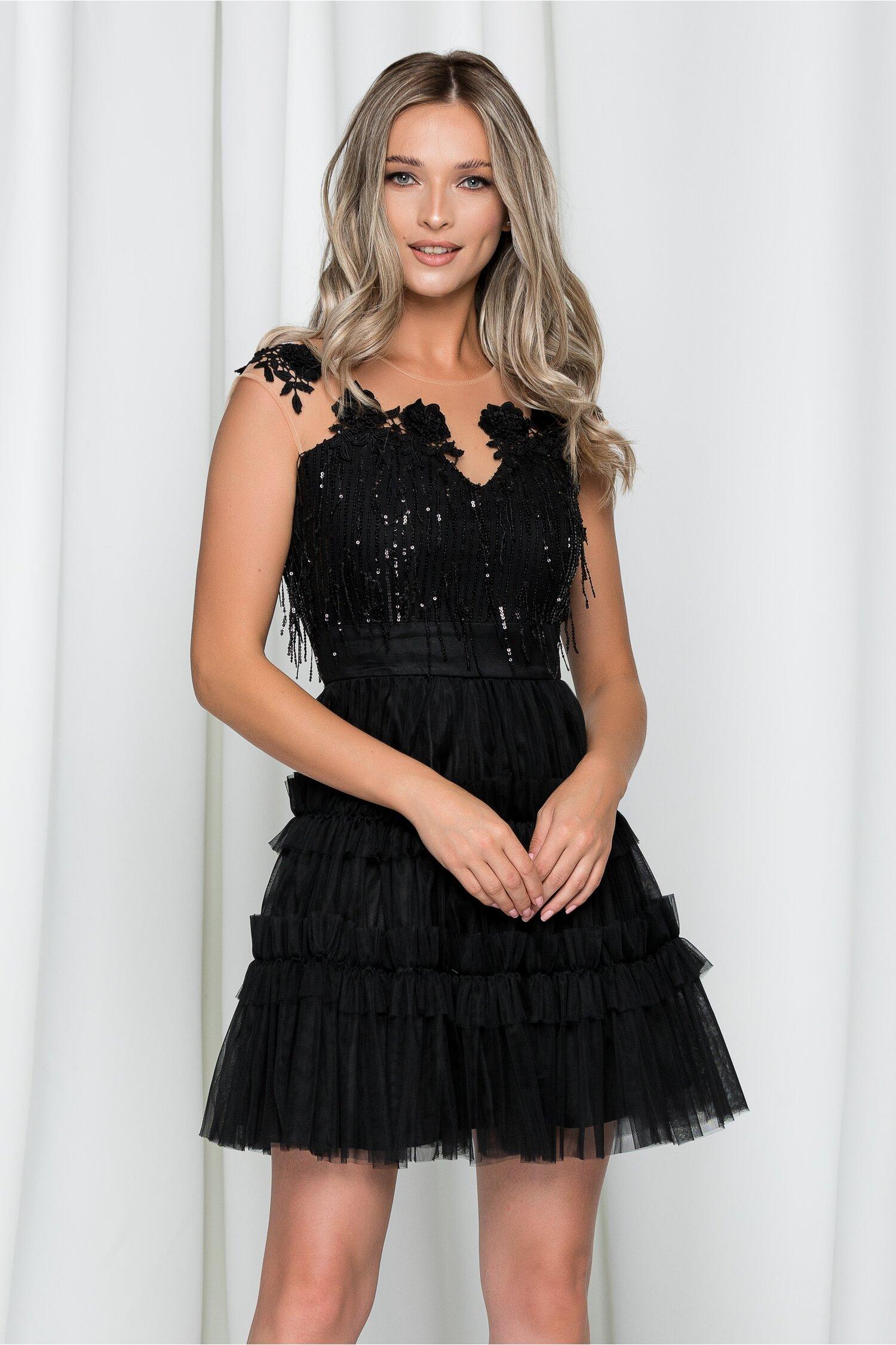 Rochie Renata neagra din tull