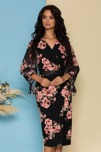 Rochie Reny neagra cu imprimeu floral si curea in talie