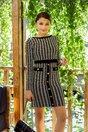 Rochie Reya tricotata cu imprimeu picior de cocos si nasturi aurii