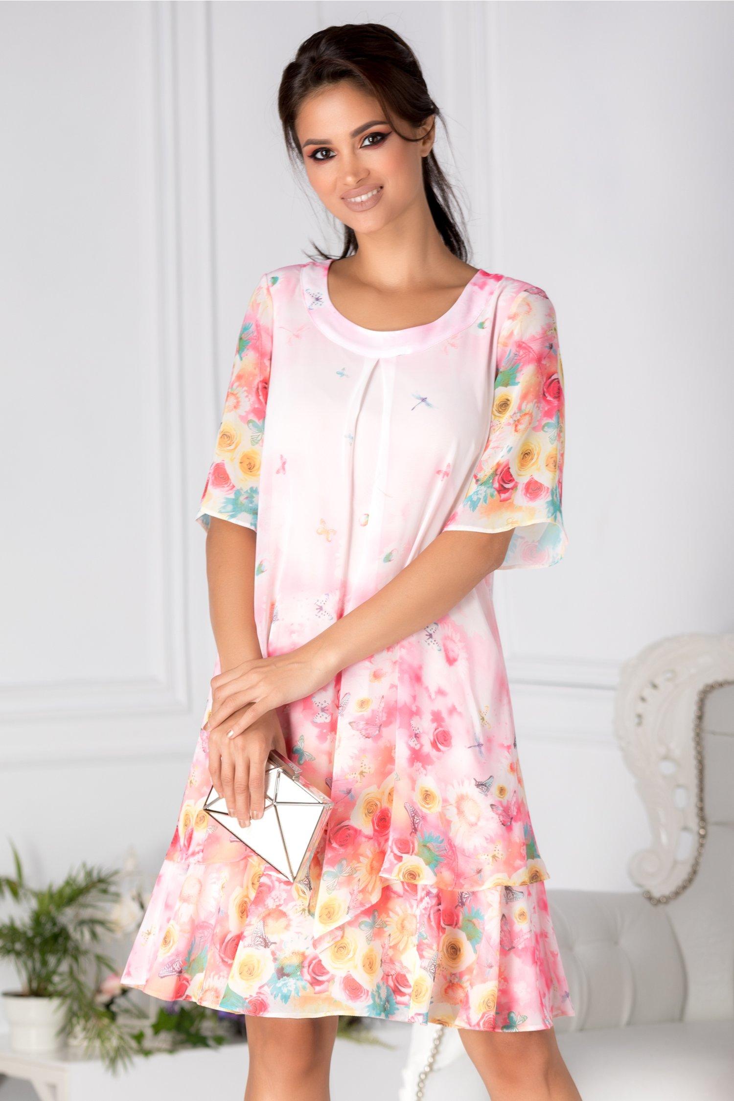Rochie Reya vaporoasa roz cu trandafiri si fluturi colorati