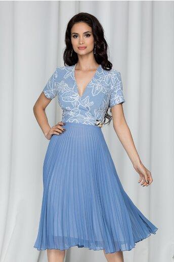Rochie Reyna bleu cu imprimeu tridimensional si pliuri pe fusta