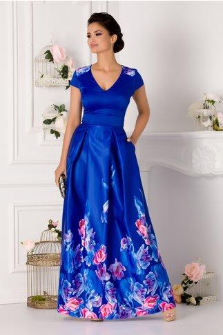 Rochie Rhona lunga albastra cu imprimeu floral roz