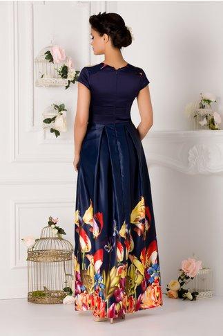 Rochie Rhona lunga bleumarin cu imprimeu multicolor