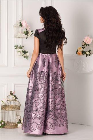 Rochie Rhona lunga negru si lila cu insertii din fir lurex