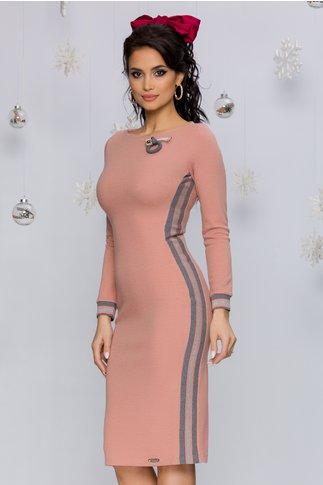Rochie Rhonda roz prafuit tricotata accesorizata cu benzi decorative