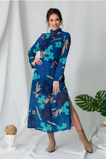 Rochie Ricckie albastra cu imprimeuri florale turcoaz