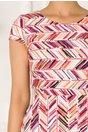 Rochie Riky alba cu imprimeuri cu dungi multicolore