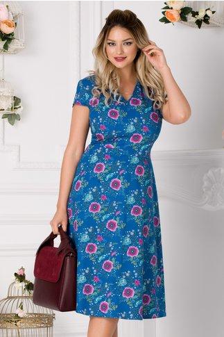 Rochie Riky albastra cu imprimeu floral roz