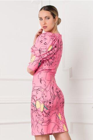 Rochie Rina roz imprimata cu portrete de fete