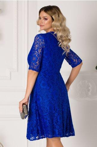 Rochie Romina din dantela albastra cu decolteu petrecut