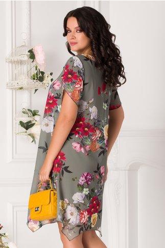 Rochie Romina kaki cu imprimeu floral colorat